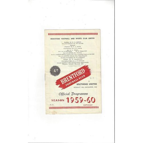 1959/60 Brentford v Southend United Football Programme