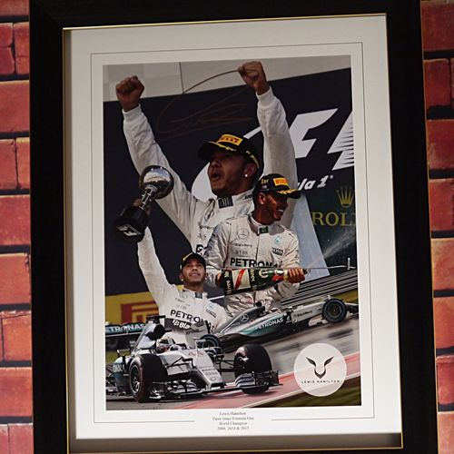 Lewis Hamilton Signed Montage