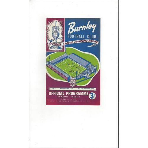 1960/61 Burnley v Birmingham City Football Programme