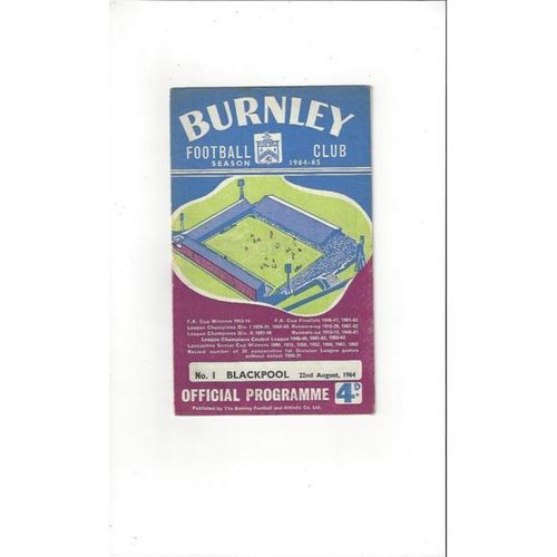 1964/65 Burnley v Blackpool Football Programme