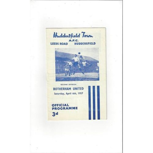 1956/57 Huddersfield Town v Rotherham United Football Programme