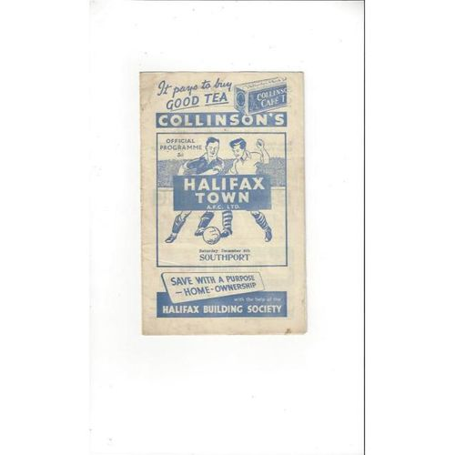1952/53 Halifax Town v Southport FA Cup Football Programme