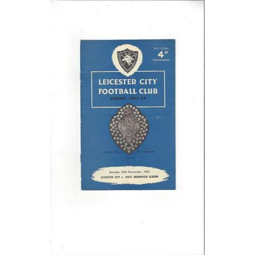1957/58 Leicester City v West Bromwich Albion Football Programme