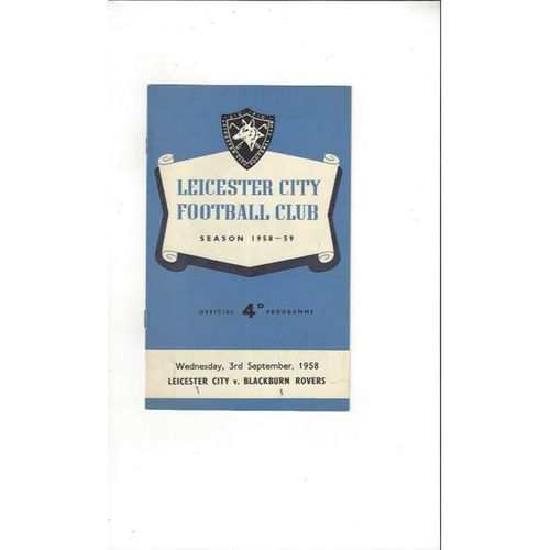1958/59 Leicester City v Blackburn Rovers Football Programme