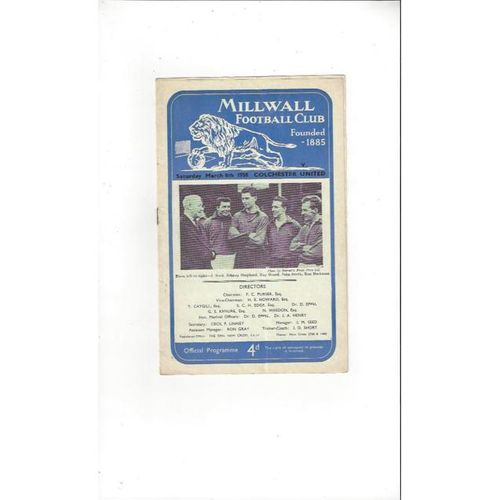 1957/58 Millwall v Colchester United Football Programme