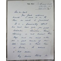Ted Ray Signed 1963 Letter Book Criticism