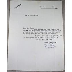 "Ted Ray Signed 1963 Letter Radio's Mrs Hoskin & Ivy ""Laid to Rest"""