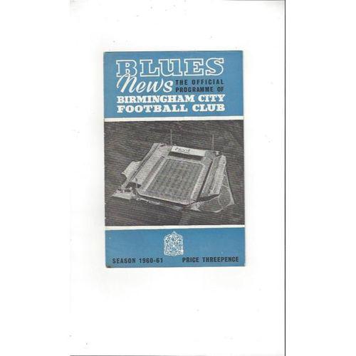 1960/61 Birmingham City v Blackburn Rovers Football Programme