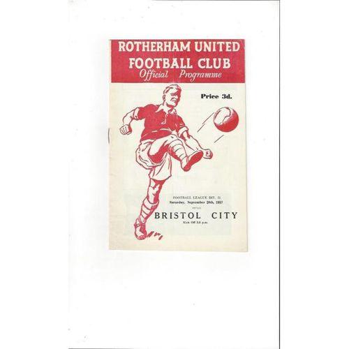 1957/58 Rotherham United v Bristol City Football Programme
