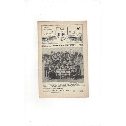 1958/59 Watford v Southport Football Programme