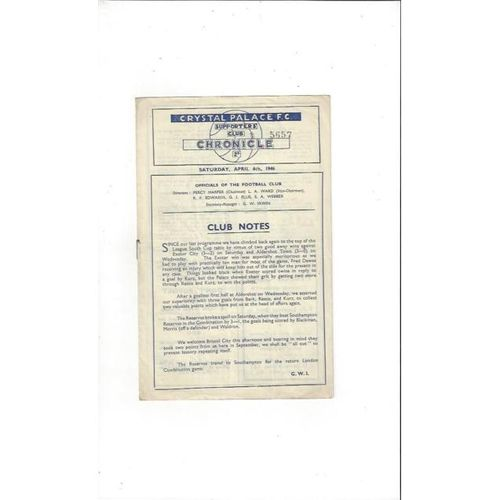 1945/46 Crystal Palace v Bristol City League Cup South Football Programme