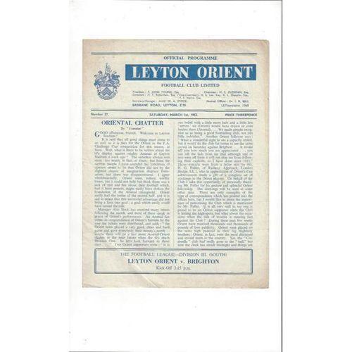 1951/52 Leyton Orient v Brighton Football Programme