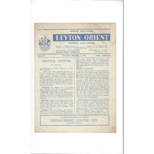 1951/52 Leyton Orient v Exeter City Football Programme