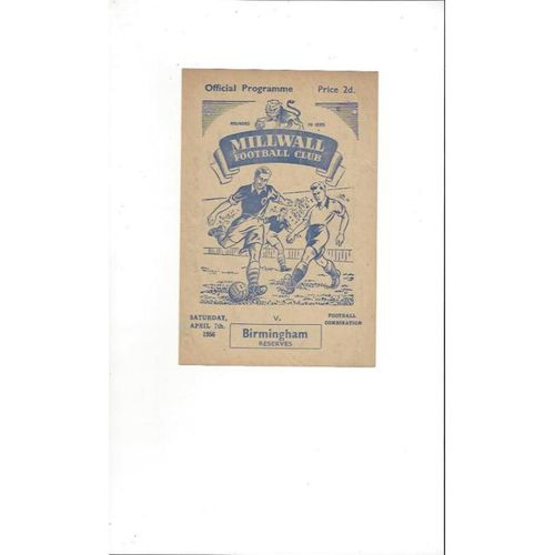 Millwall Reserves v Birmingham City Reserves Football Programme 1955/56
