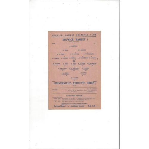 1945/46 Dulwich Hamlet v Universities Athletic Union Football Programme