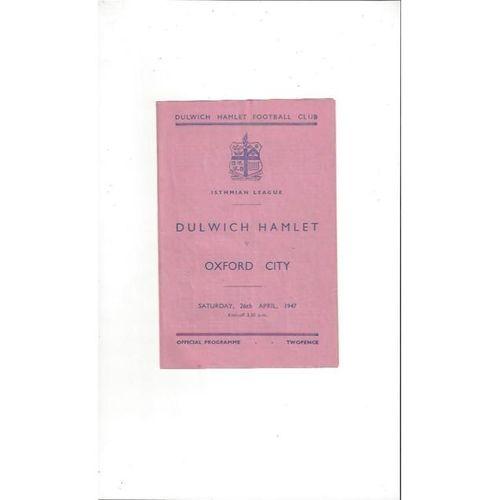 1946/47 Dulwich Hamlet v Oxford City Football Programme