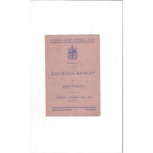 1946/47 Dulwich Hamlet v Southall Friendly Football Programme