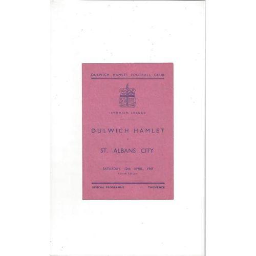 1946/47 Dulwich Hamlet v St Albans Football Programme