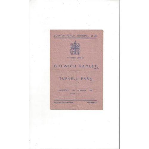 1946/47 Dulwich Hamlet v Tufnell Park Football Programme
