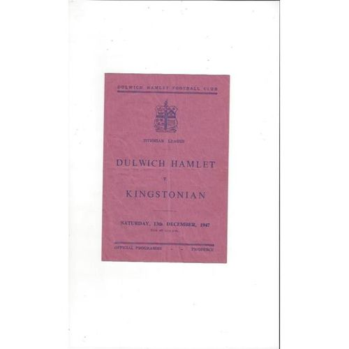 1947/48 Dulwich Hamlet v Kingstonian Football Programme