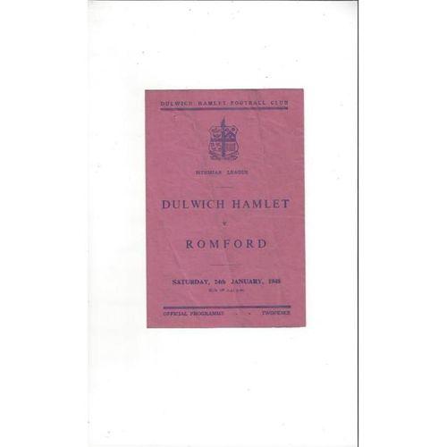 1947/48 Dulwich Hamlet v Romford Football Programme