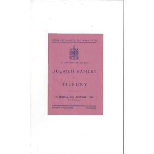 1947/48 Dulwich Hamlet v Tilbury FA Amateur Cup Football Programme