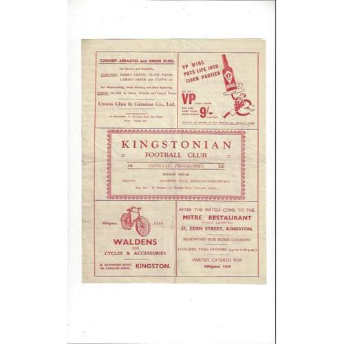 1947/48 Kingstonian v Dulwich Hamlet Surrey Senior Cup Football Programme