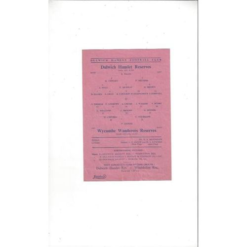 Dulwich Hamlet Reserves v Wycombe Wanderers Reserves 1948/49