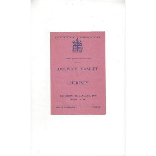 1948/49 Dulwich Hamlet v Chertsey Surrey Senior Cup Football Programme