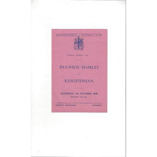 1948/49 Dulwich Hamlet v Kingstonian London Charity Cup Football Programme