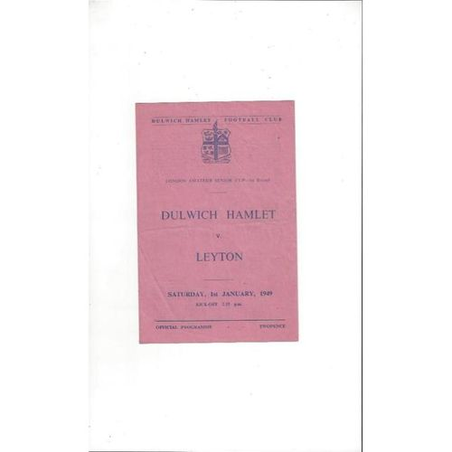 1948/49 Dulwich Hamlet v Leyton London Amateur Cup Football Programme