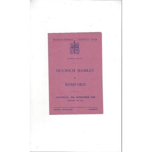 1948/49 Dulwich Hamlet v Romford Football Programme