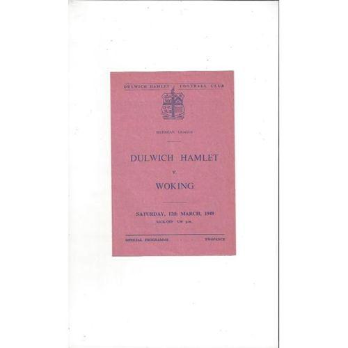 1948/49 Dulwich Hamlet v Woking Football Programme