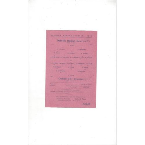 1949/50 Dulwich Hamlet v Oxford City Reserves Football Programme