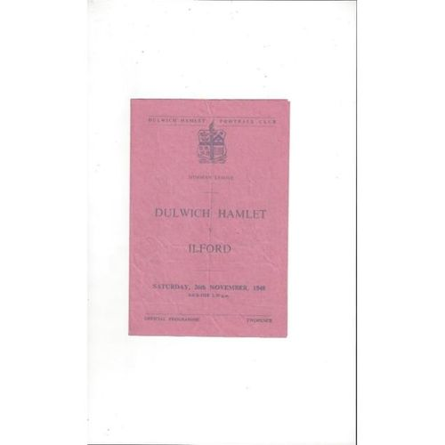 1949/50 Dulwich Hamlet v Ilford Football Programme