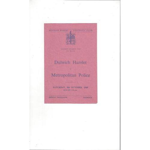 1949/50 Dulwich Hamlet v Metropolitan Police London Charity Cup Football Programme