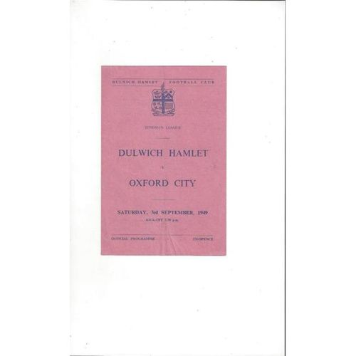 1949/50 Dulwich Hamlet v Oxford City Football Programme