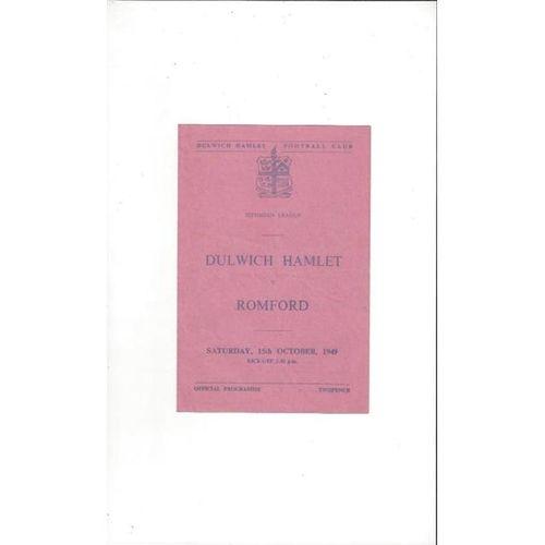 1949/50 Dulwich Hamlet v Romford Football Programme
