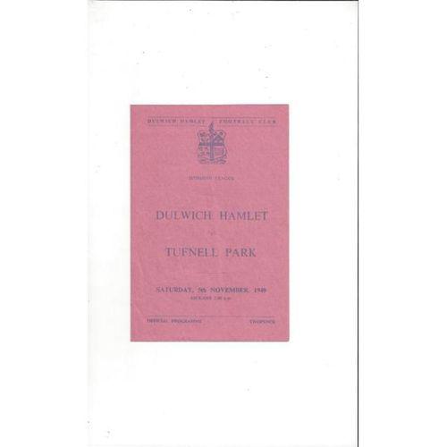1949/50 Dulwich Hamlet v Tufnell Park Football Programme November