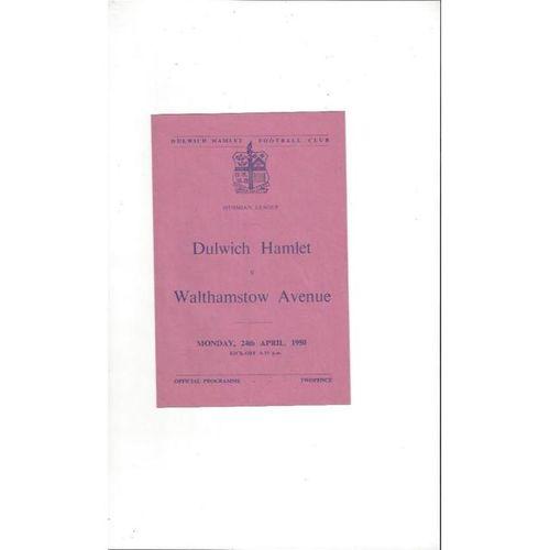 1949/50 Dulwich Hamlet v Walthamstow Avenue Football Programme