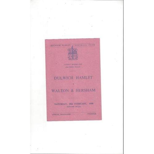1949/50 Dulwich Hamlet v Walton & Hersham Surrey Senior Cup Football Programme