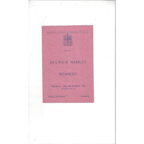 1949/50 Dulwich Hamlet v Wembley Friendly Football Programme