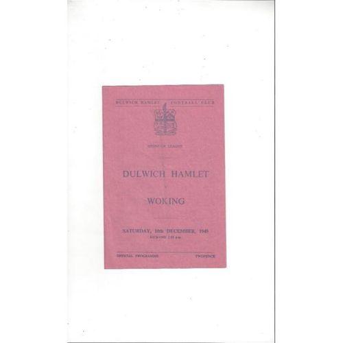 1949/50 Dulwich Hamlet v Woking Football Programme