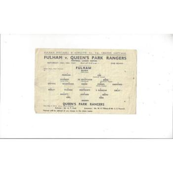 1943/44 Fulham v Queens Park Rangers League South Football Programme