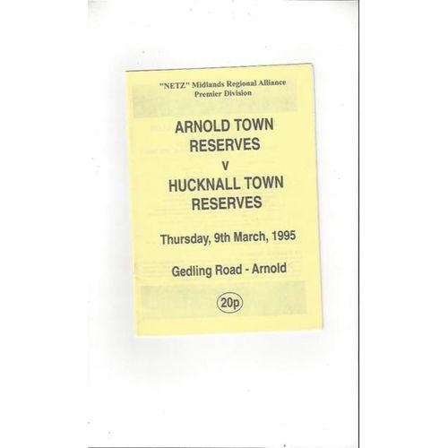 Arnold Town Home Reserves v Hucknall Town Reserves 1994/95