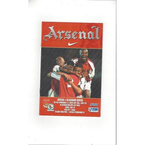 Arsenal v Blackburn Rovers FA Youth Cup Final 2000/01 Football Programme
