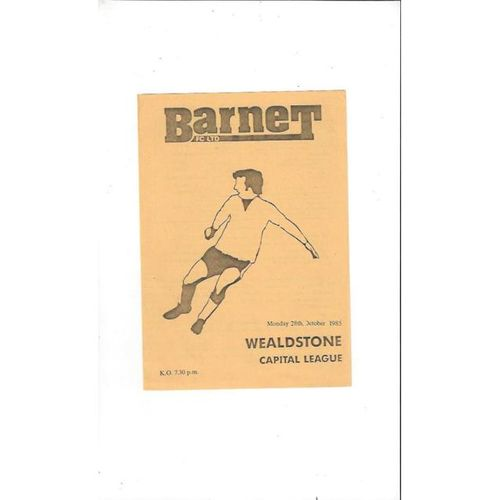 Barnet v Wealdstone Reserves Football Programme 1985/86