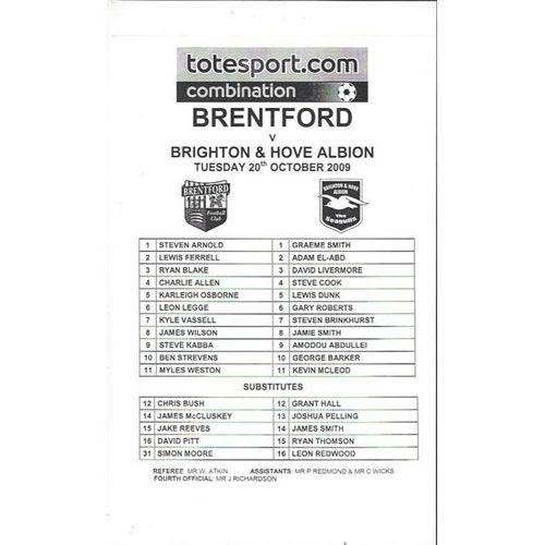 Brentford v Brighton Reserves Football Programme 2009/10