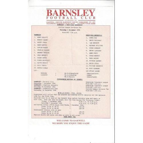 Barnsley Reserves v Sheffield Wednesday Reserves 1994/95