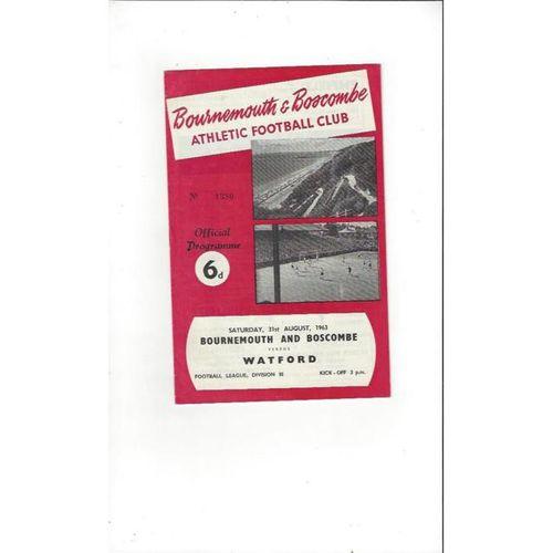 1963/64 Bournemouth v Watford Football Programme